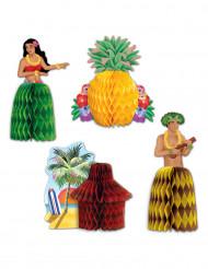 Hawaii-Pappaufsteller Hawaiiparty-Tischdeko 4 Stück bunt