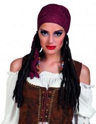 Piratin Langhaar-Perücke mit Bandana rot-braun