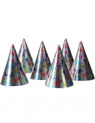Partyhüte im Holografik-Look Silvesterhüte 6 Stück bunt 15,5cm