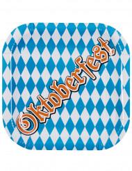 Oktoberfest-Pappteller 6 Stück blau-weiss-braun 25x25cm