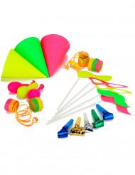 Partyaccessoire-Set für 5 Personen neonfarben