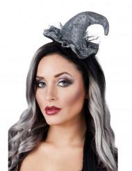 Mini Hexenhut mit Tüll auf Haarreif für Damen silber