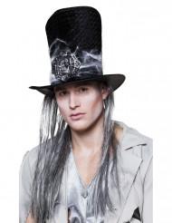 Edler Zylinder Deluxe mit Totenschädel und Haaren schwarz-silber