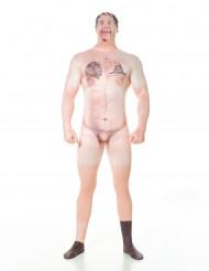 Zensierter nackter Hillbilly mit Tattoo Morphsuit hautfarben