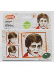 Vampir-Schminkset für Kinder Halloween-Make-up mit Pinsel weiss-grau-schwarz