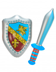 Aufblasbares Ritter Waffen-Set silber-blau