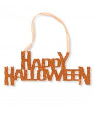 Deko-Schild Happy Halloween Partydeko mit Pailletten orange 31cm