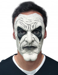 Harlekin Halloween Maske Narr weiss-schwarz