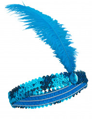 20er Pailletten-Stirnband mit Feder blau