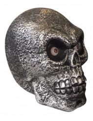 Verhexter Totenkopf mit Leuchtaugen und Geräuschen schwarz-silber 34x24x30cm