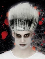 Verrückter Zauberer Halloween Perücke für Herren weiss-schwarz