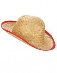 Cowboyhut Stroh-Hut beige-rot