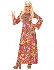 Hippie Damenkostüm rot-bunt