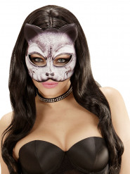 Elegante Katze Maske kinnlos schwarz-weiss