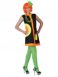 60er-Jahre-Discokleid schwarz-orange