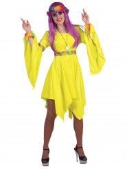 Hippie Damenkostüm Kleid gelb