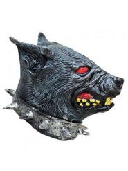 Grimmiger Wachhund Tiermaske für Halloween grau-rot