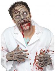 Zombie-Set Halbmaske und Hände grau-grün