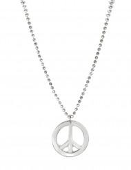 Peace Halskette Hippie Schmuck silber
