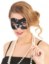 Edle Augen-Maske mit Pailletten schwarz