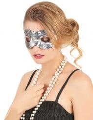 Venezianische Pailletten-Augenmaske silber