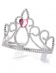 Prinzessinnen Herz-Diadem silber-rosa