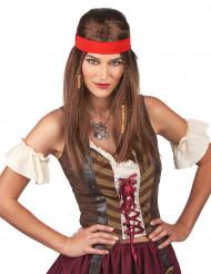 Piraten-Perücke Langhaar-Perücke mit Kopfband braun-rot