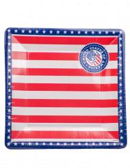 Pappteller quadratisch USA 8 Stück blau-rot-weiss
