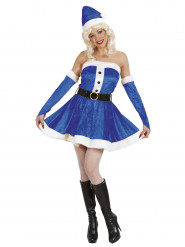 Weihnachtsfrau-Damenkostüm Miss Santa blau