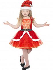 Leuchtendes Weihnachtsfrau-Kostüm für Mädchen rot