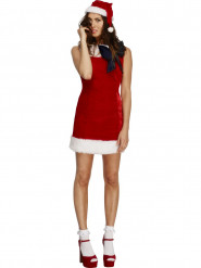 Kurzes Weihnachtskleid Damenkostüm rot-weiss