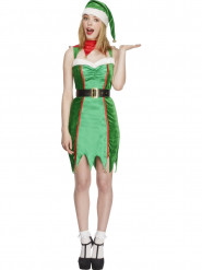 Sexy Weihnachtselfe Wichtel Damenkostüm grün-rot