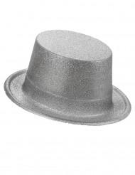 Glitzer-Zylinder für Erwachsene Party-Hut silber