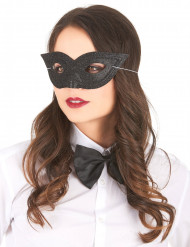 Glitzer-Damenmaske Schmetterling-Augenmaske schwarz