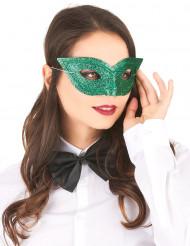 Venezianische Augenmaske Glitzer grün