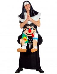 Huckepack Nonne und Pfarrer Kostüm für Erwachsene bunt