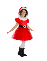Hübsche Weihnachtsfrau Kleid Kostüm für Mädchen rot-weiss