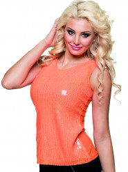 Schickes Pailletten Top für Damen orange