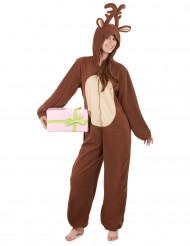 Rentier-Damenkostüm Jumpsuit Weihnachten braun-beige