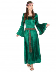 Mittelalter-Kleid LARP Damenkostüm grün-braun