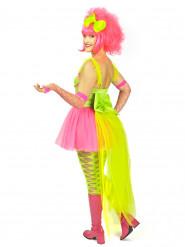 80er Ballerina Damenkostüm neonpink-neongrün