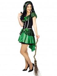 Hexe Halloween Damenkostüm Zauberin grün-schwarz