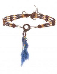 Indianer Perlen-Gürtel mit Federn braun-grau