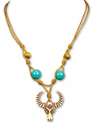 Indianer Perlen-Halskette Büffel türkis-braun