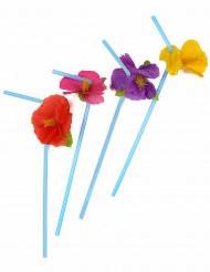 Hawaii Strohhalm-Set Blumen 12 Stück bunt