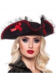 Piratenhut für Damen schwarz-rot