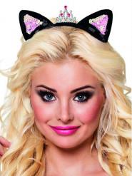 Haarreif Katzenohren mit Krönchen für Erwachsene schwarz-silber-pink