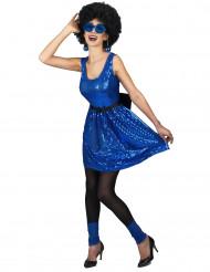 Discokostüm Pailletten-Kleid für Damen blau