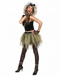 80er Jahre Disco Popstar Damenkostüm schwarz-grün