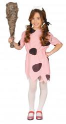 Steinzeit-Mädchenkostüm Höhlenmensch rosa-schwarz